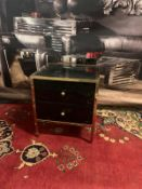 Birlea Fenwick Black Glass and Gold 2 Drawer Small Bedside Cabinet Presenting a stunning piece of