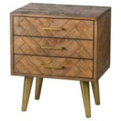 Havana Gold Three Drawer Bedside. Part of a capsule collection of 4 pieces designed to deliver a