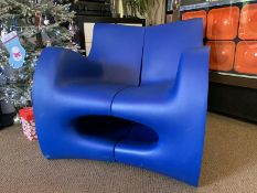 Canyon Chair Blue A Unique And Rare Off Rotation Moulded Indoor/Outdoor Chair Designed And Made