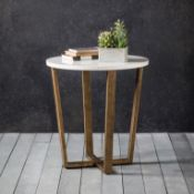 Cleo Side Table Marble A contemporary round side table featuring Spanish volkas marble in white with