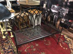 Black metal 2 seater garden bench