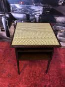 Herringbone Side Table Is Crafted From European Beach With A Dark Stained Structured Veneers And