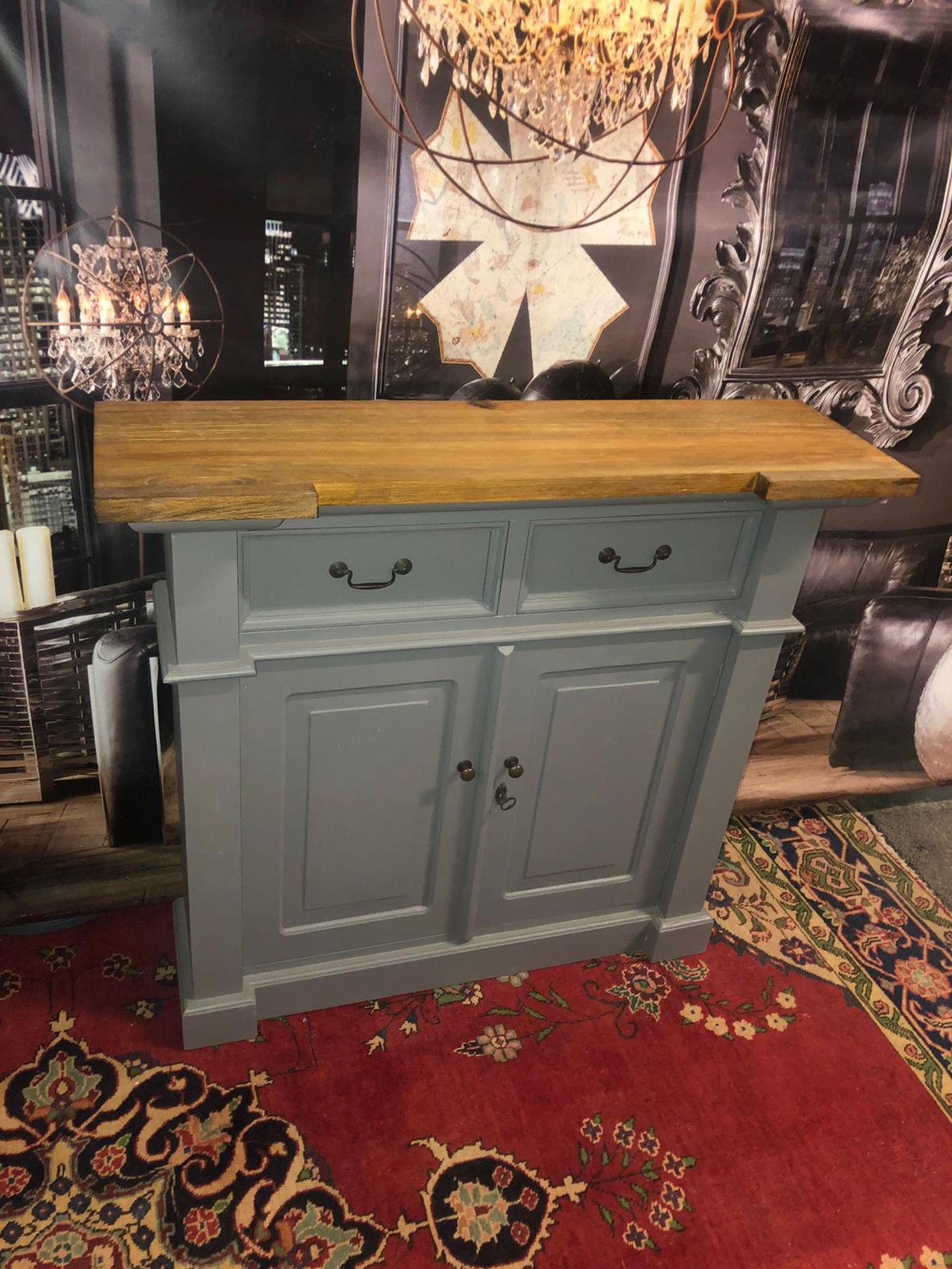 Storm Oak and Grey Painted 2 Door 2 Drawer Small Sideboard Organize your everyday bits and pieces - Image 5 of 5