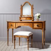 Frank Hudson Spire Dressing Table - Mindy ash solids, Blonde European & American Walnut inlays a