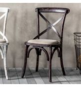 Cafe Chair Black (2pk) A Pack Of 2 Understated Cross Back Chairs In A Distressed Black Finish With