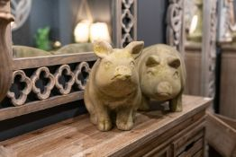 Aged Stone Outdoor Standing Hereford Pig Ornament This charming character would make a fantastic