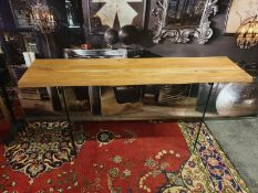 Ferndale Console Table contemporary dining table featuring a rich natural wood effect table top