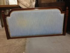 Luxury headboard mahogany framed light blue padded with rope piping 156 x 76cm ( LOC HB5)