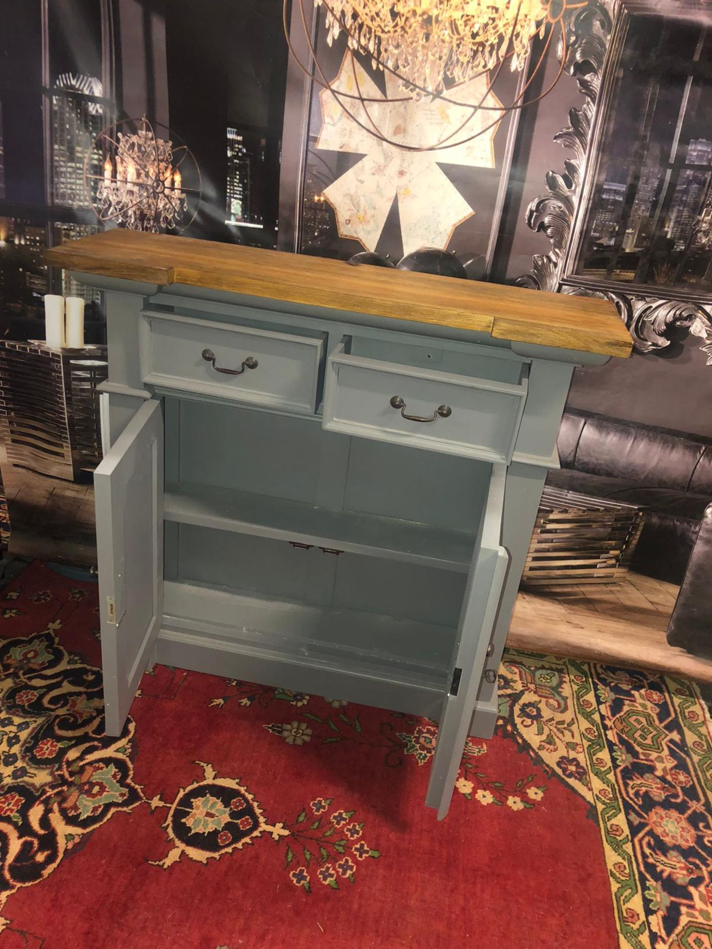 Storm Oak and Grey Painted 2 Door 2 Drawer Small Sideboard Organize your everyday bits and pieces - Image 2 of 5
