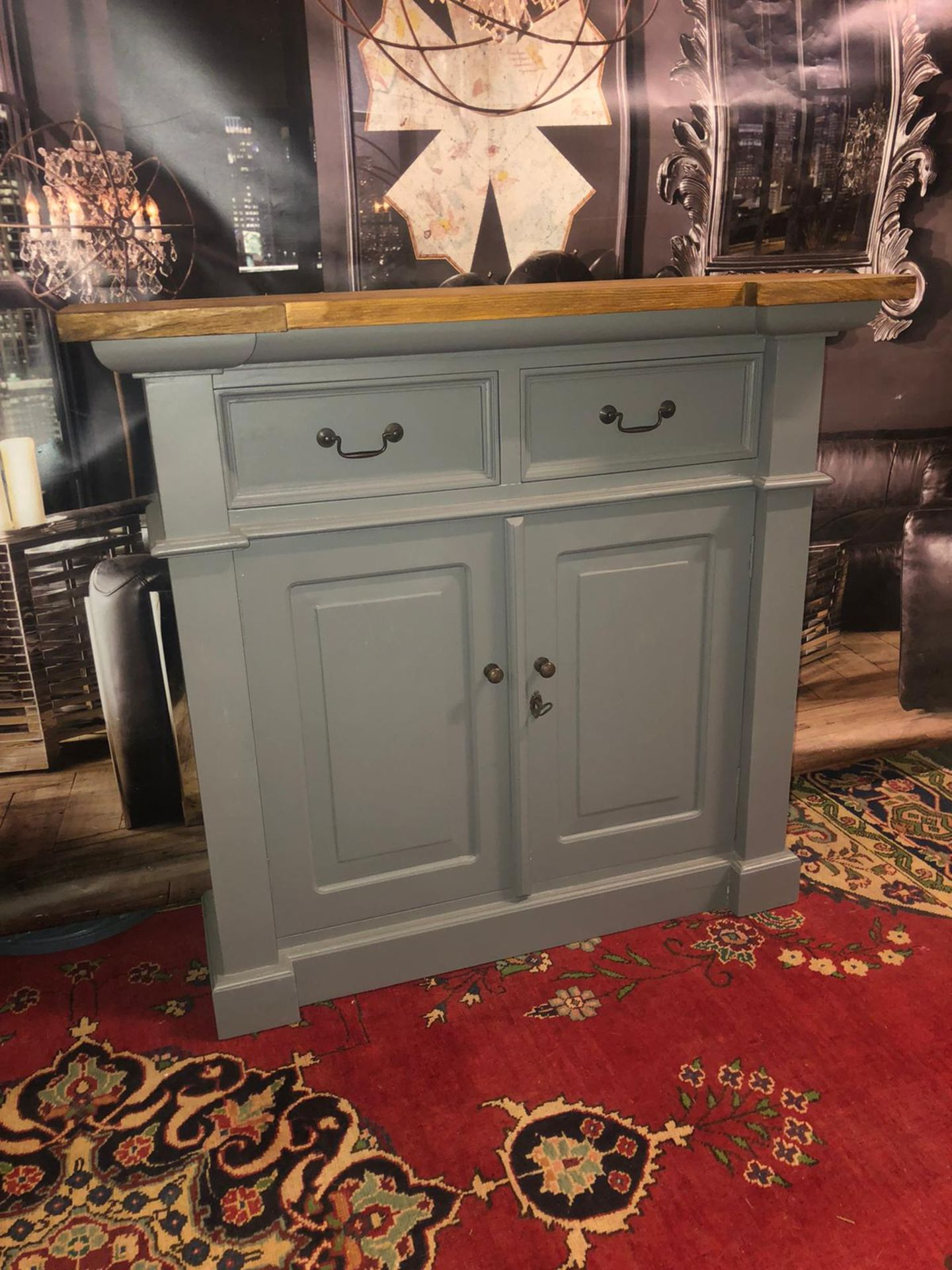 Storm Oak and Grey Painted 2 Door 2 Drawer Small Sideboard Organize your everyday bits and pieces - Image 4 of 5