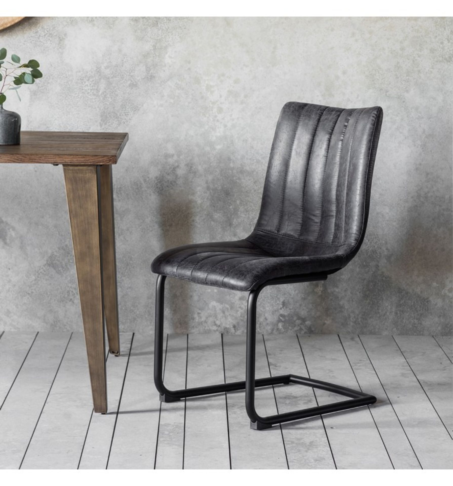 Edington Brown Chair (2pk) A Retro Classic Styled Dining Chair With Decorative Stitching Detail - Image 2 of 2