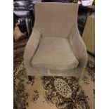 2 X Upholstered Luxury Chairs 1 X Brown Fabric Wingback Chair 72 X 55 X88cm 1 X Side Chair 74 X 56 X