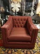 James Armchair Berwick Marsala Style, thy name is James. This twist on a Chesterfield is a classic