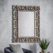 Sumner Mirror Bold statement piece with a deep decorative frame in an antique silver finishW930 x