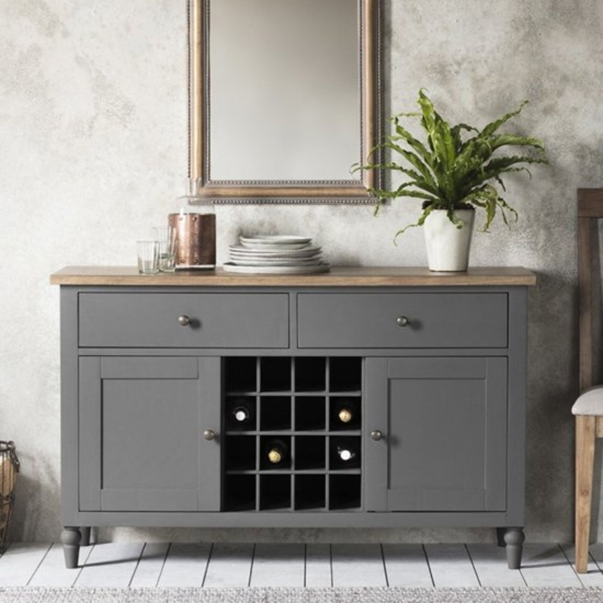 Cookham Large Sideboard in Grey features a built-in wine rack, 2 cupboards, each with a shelf, and 2