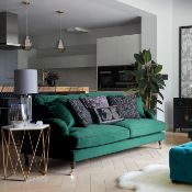 Bude Velvet Green 3 Seater Velvet Sofa is a charming addition to your home with its vintage design