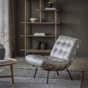 Riccia lounge chair a stunning lounger chair in beautiful full grain grey leather with buttoned