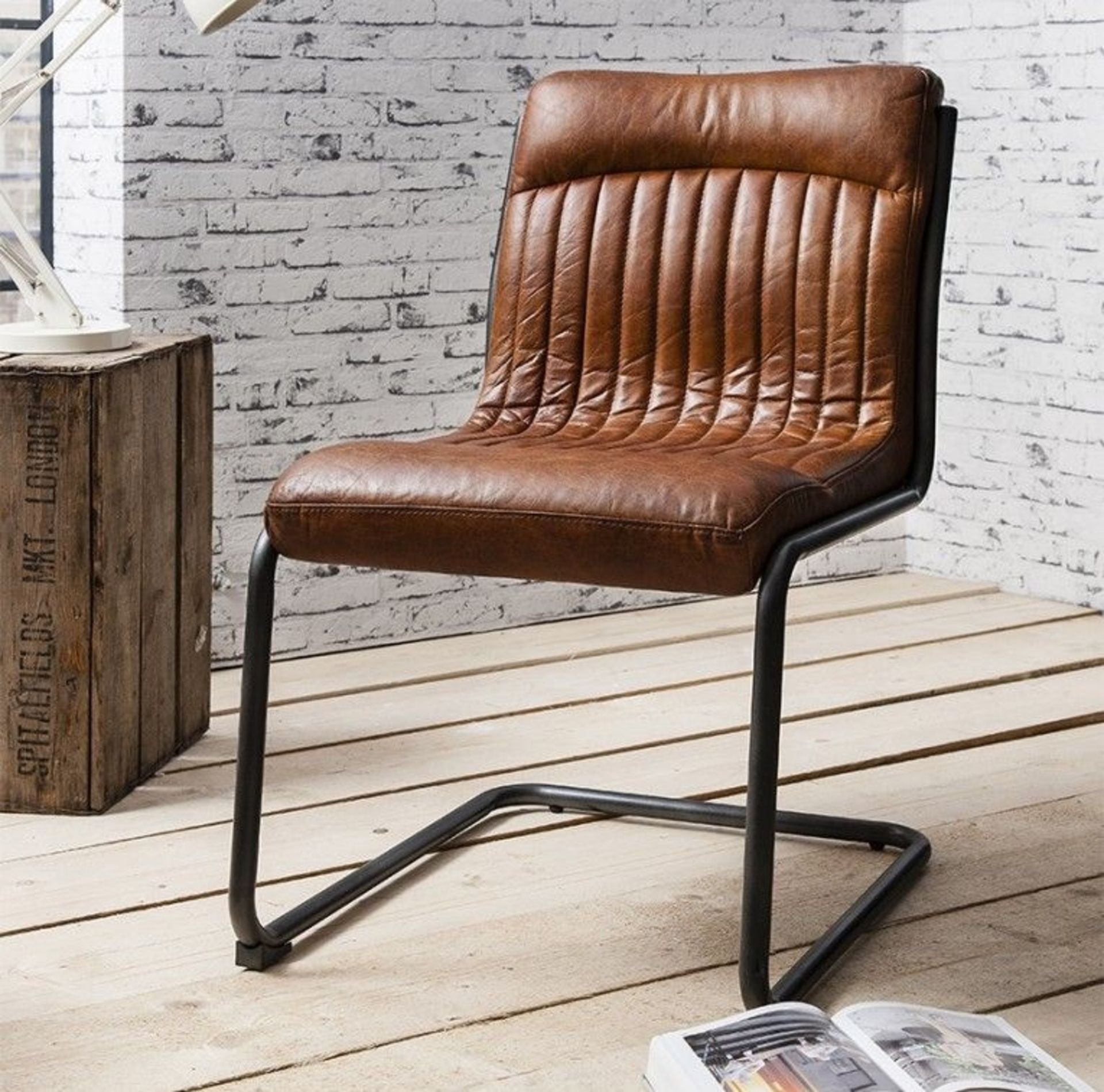Capri Leather Chair Contemporary dining or office chair with metal frame and top grain leather
