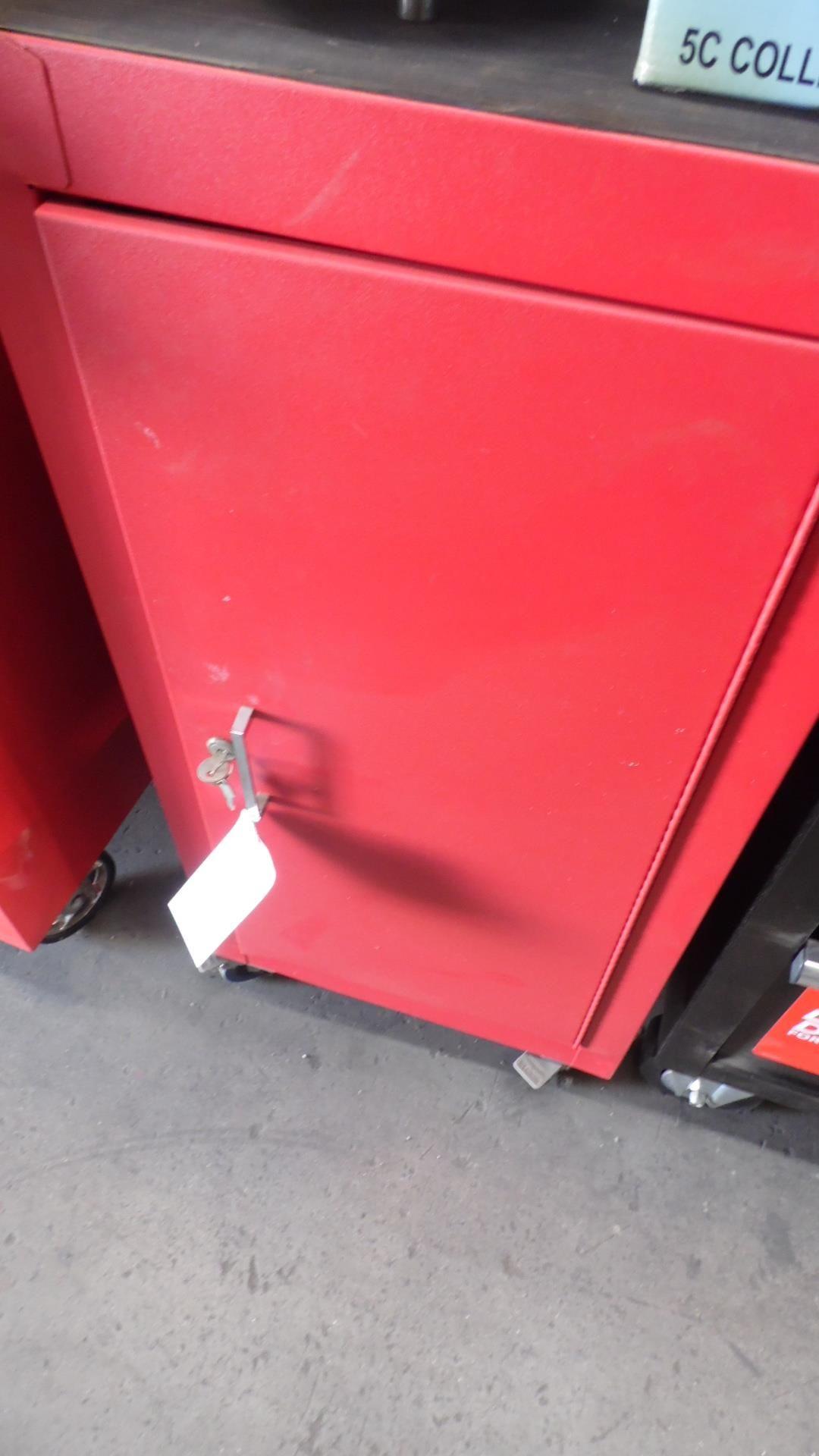 Lot 45 - RED SINGLE DOOR ROLLING CART