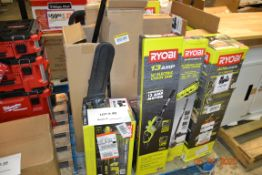 ASSORTED RYOBI GAS POWER TOOLS, BLOWER, PRESSURE WASHER, TRIMMERS++(15PCS)