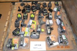 ASSORTED RYOBI BATTERIES AND CHARGERS (26PCS)