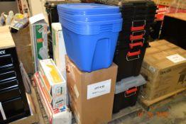 ASSORTED PLASTIC BINS, HDX PAINTERS PLASTIC, PLASTIC SHEETING,