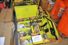 RYOBI LOT-WET&DRY VACUUM/HAMMER DRILL/CIRCULAR SAW/ORBIT SANDER/CORNER FINISH SANDER/BRAD NAILER/AND