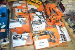RIDGID LOT ORBIT SANDER/FRAMING SAW/HAMMER DRILL-DRIVER/COMPACT HAMMER DRILL DRIVER KIT/BELT