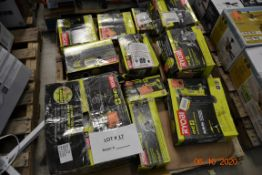 RYOBI-COMBO KIT/ANGLE GRINDER/SPEED SAW ROTARY CUTTER/FINISH NAILER/CIRCULAR SAW/DRILL AND DRIVER (