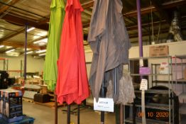 (5) ASSORTED SIZES PATIO UMBRELLAS WITH STANDS