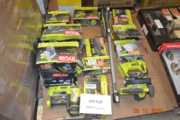 RYOBI LOT- ORBIT SANDERS/CIRCULAR SAW/POWER INFLATOR/ORBITAL JIG SAW/DRILL-DRIVER KIT/IMPACT