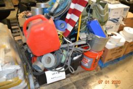ASSORTED LOT TAPE, MIX TOOLS, RAMP, FLAG, CHAIR, HOSES AND MORE
