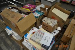 PALLET OF PAPER AND TAGS, REGISTER ROLLS, LABELS, FILE FOLDERS