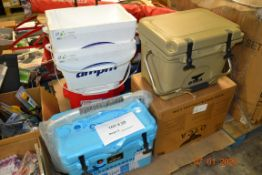 PALLET OF ASSORTED ICE CHEST (ORCA, NICE, RUBBERMAID AND MORE) SNOW SLED