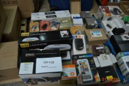 MIX LOT LAMINATOR, PA SYSTEM WITH MIC, WIRELESS READER, FINGER KEYPAD DOOR LOCK AND MORE