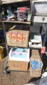 FISHING TACKLE BOXES, MRS. ALL BUST & ASSORTED TOY'S, PHOTO MIRRIR (NO CART)
