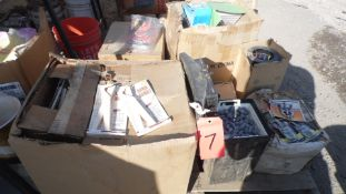 PALLET OF TERMINAL LIFTERS, FISHING WAITS, HANDI HANDLES, SPORTS PENS, VIDEO CABLES