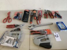 Hand Tools, Crescent Wrench, Snips, Cutters, 16 Items