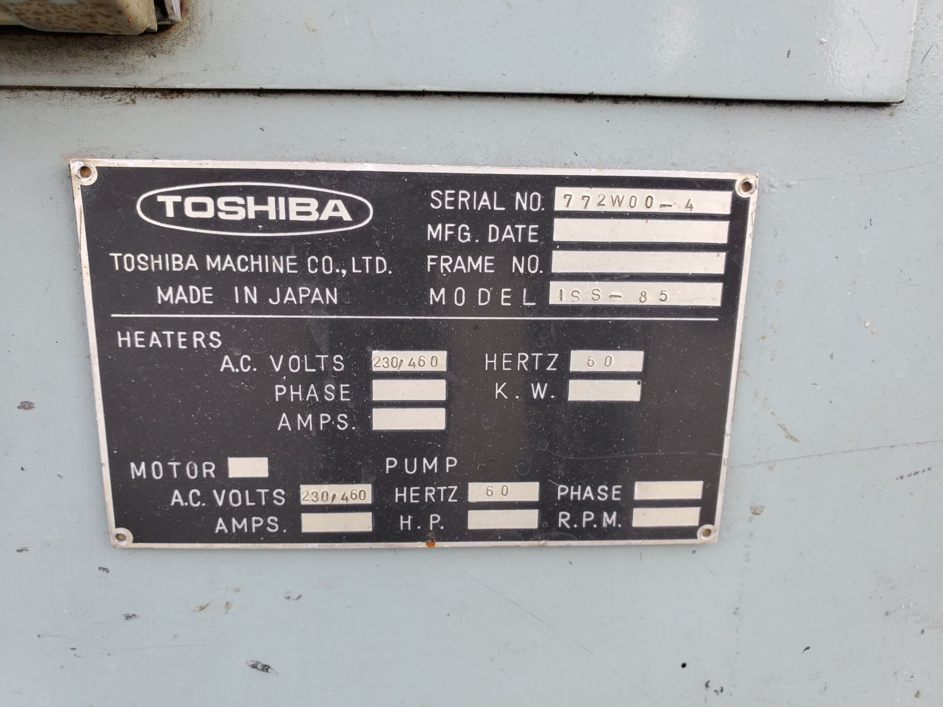 TOSHIBA ISS-85 INJECTION MOLDING MACHINE - Image 3 of 4