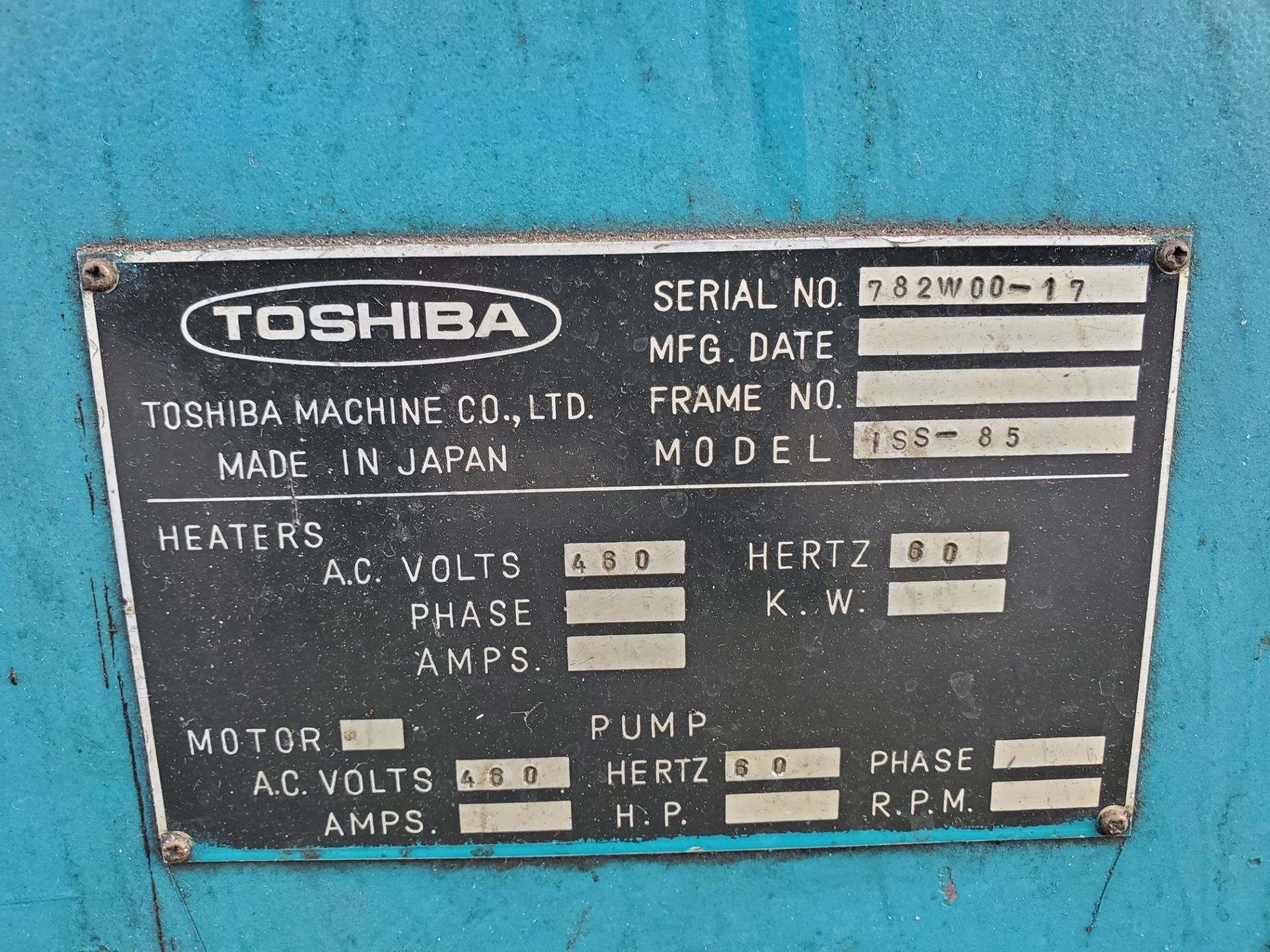 TOSHIBA ISS-85 INJECTION MOLDING MACHINE - Image 3 of 5