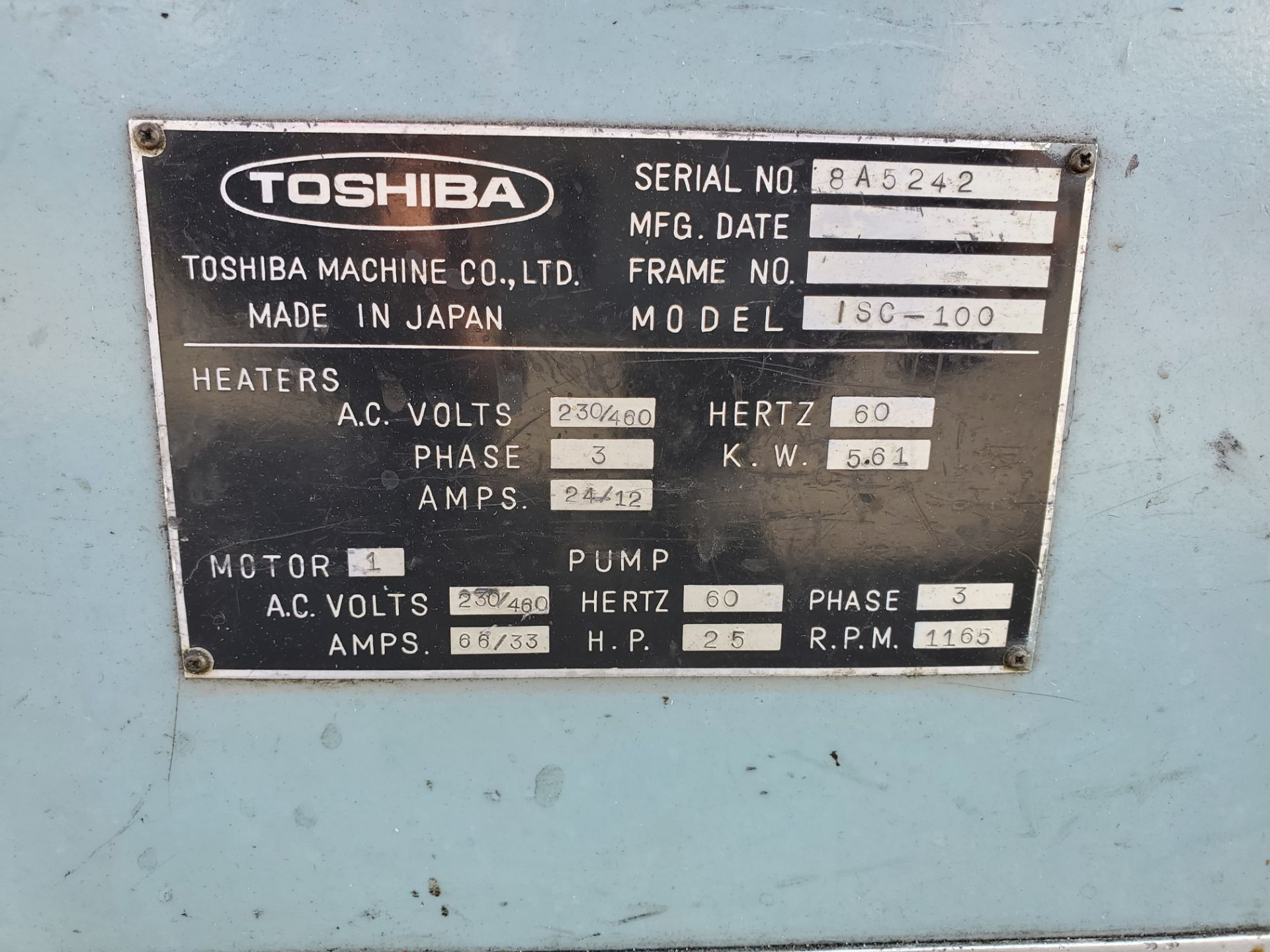 100 TON TOSHIBA ISC-100 PLASTIC INJECTION MOLDING MACHINE - Image 2 of 4