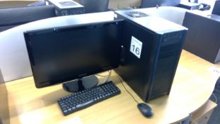 Antec PC complete with Samsung 24 inch monitor, keyboard and mouse
