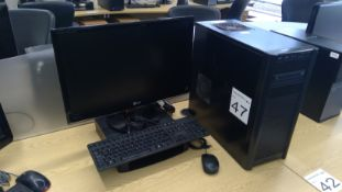 Antec PC complete with LG Flatron IPS236 23 inch LED monitor, keyboard and mouse