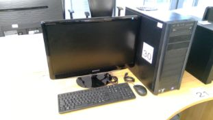 Antec AMD Phenon II PC with Samsung 24 inch monitor, keyboard and mouse