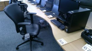 Oak effect ergonomic desk complete with 3 way adjustable gas operated chair
