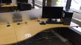 Oak effect ergonomic desk complete with opaque desk divider