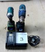 Makita LXT 18v cordlessdrill / driver combo with 2 x 3.0 Ah batteries and charger