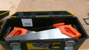 Box of assorted hand saws