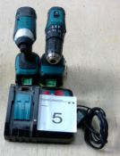 Makita LXT 18v cordless drill / driver combo with 2 x 3.0 Ah batteries and charger