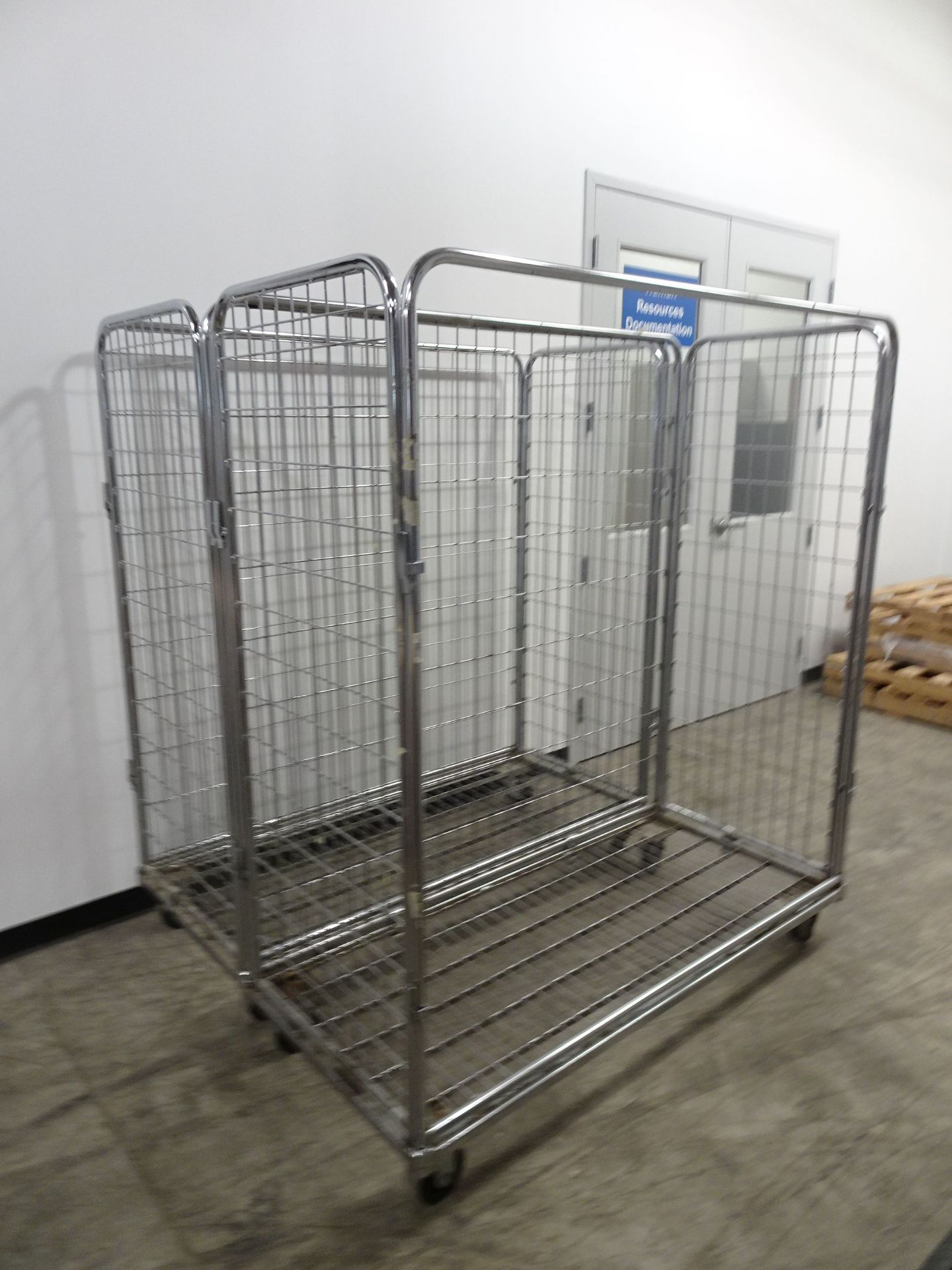 """Lot 17 - (1) 60"""" x 24""""Enclosed Stainless Steel Wire Cart, (4) 60"""" x 24"""" 3 Sided Wire Carts"""